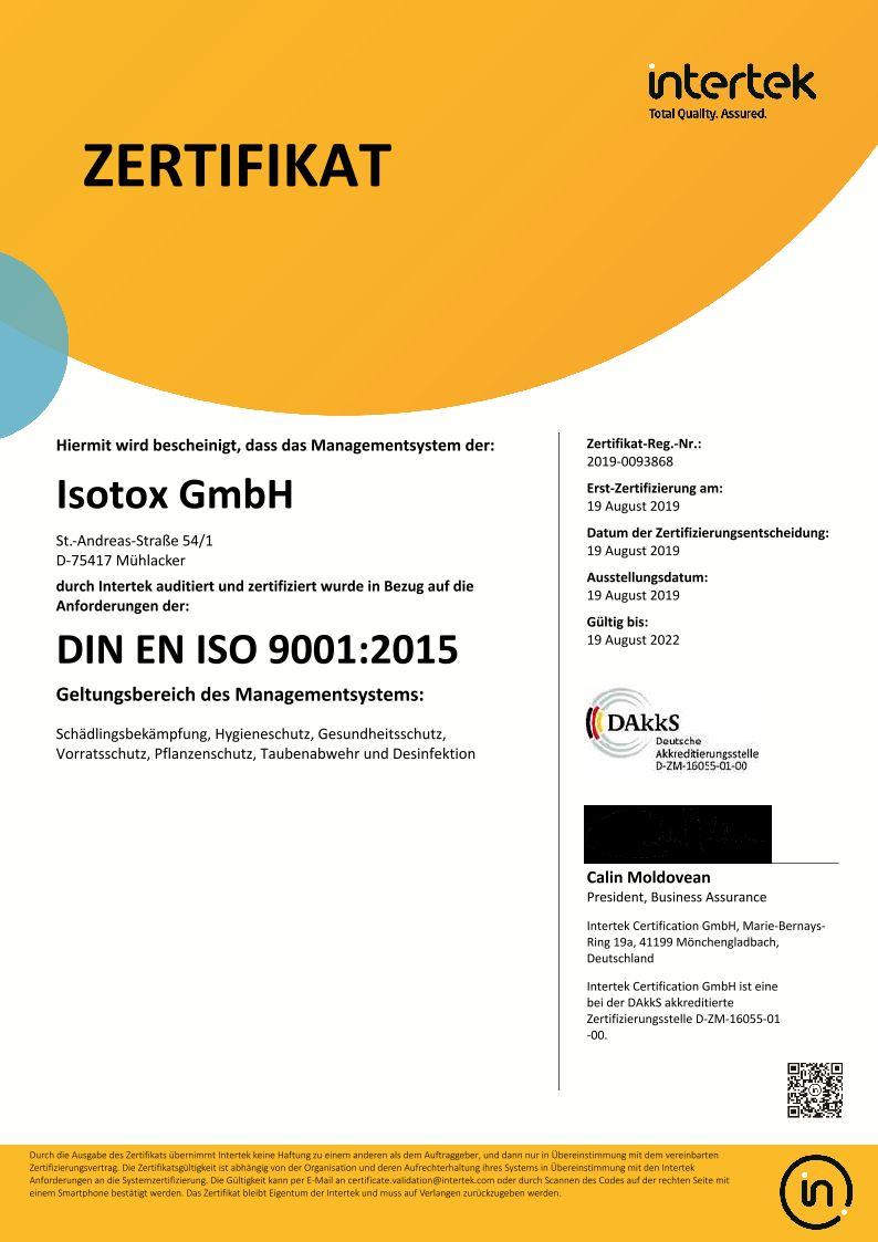 Isotox GmbH - DIN EN ISO 9001:2015